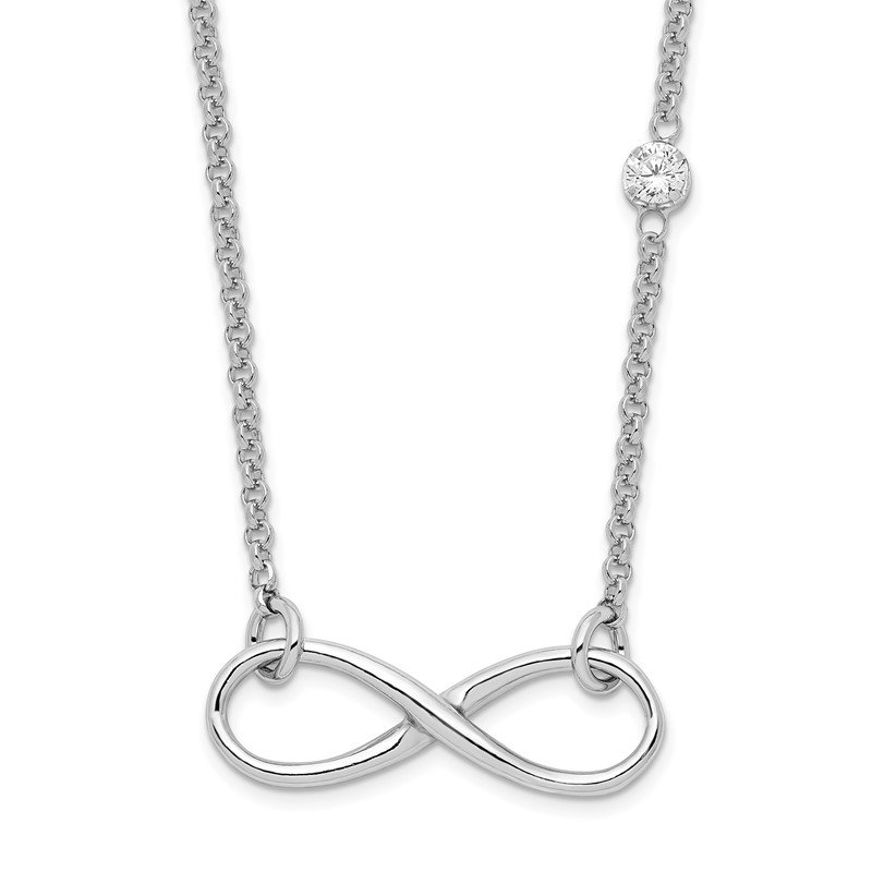 Quality Gold Sterling Silver Rhodium-plated CZ Infinity Knot Necklace