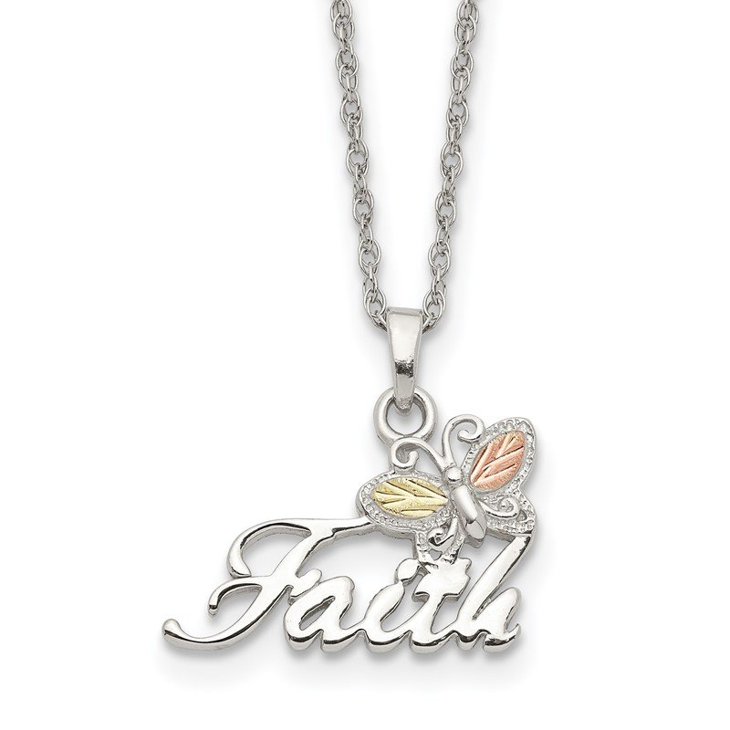 Quality Gold Sterling Silver & 12K Butterfly Faith Necklace