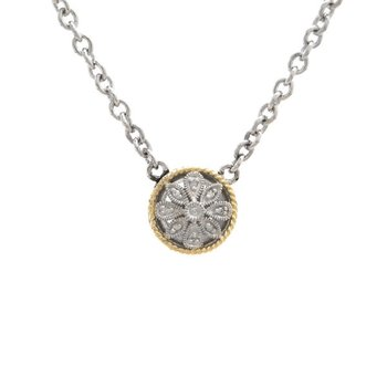 18kt and Sterling Silver Round Antique Flower Diamond Necklace