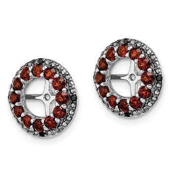 Sterling Silver Rhodium Garnet & Black Sapphire Earring Jacket