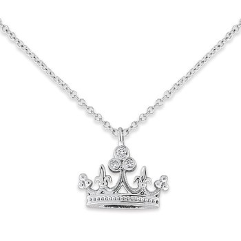 Diamond Crown Necklace in 14k White Gold with 3 Diamonds weighing .05ct tw.