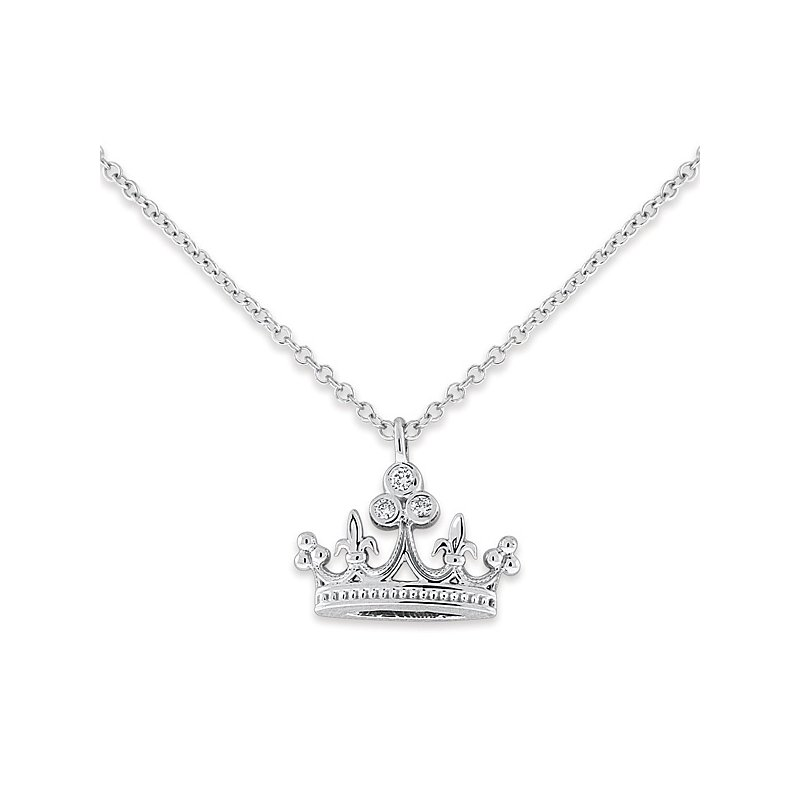 KC Designs Diamond Crown Necklace in 14k White Gold with 3 Diamonds weighing .05ct tw.
