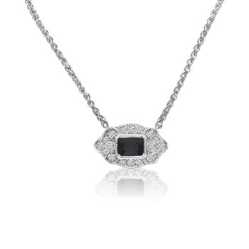 "14K White Gold Filigree Emerald-Cut Sapphire and Diamond Necklace on 18"" Chain"