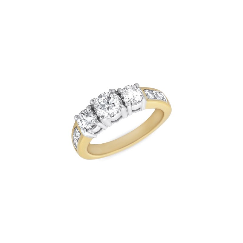S. Kashi  & Sons Yellow & White Gold Three Stone Ring