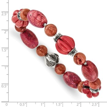 Sterling Silver Antiqued Beads/ Red Coral Stretch Bracelet