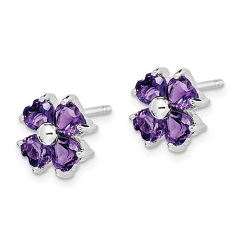 Sterling Silver Rhodium Amethyst Flower Post Earrings