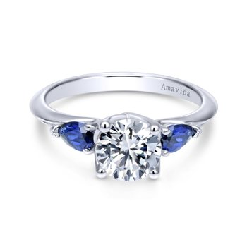 Platinum Round Sapphire and Diamond Engagement Ring