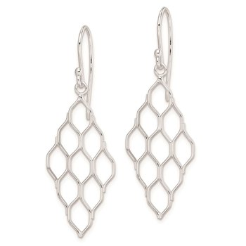 Sterling Silver Rhodium Plated Honeycomb Dangle Earrings
