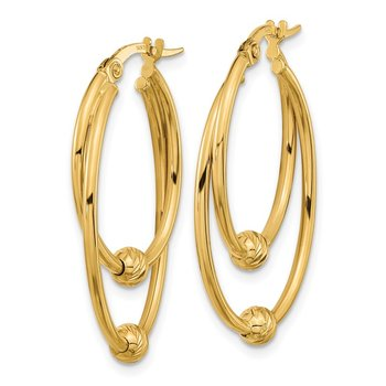 14k Gold Polished Diamond Cut Hoop Earrings