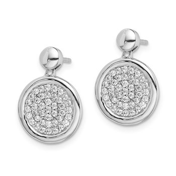14k White Gold Diamond Fancy Circle Post Earrings