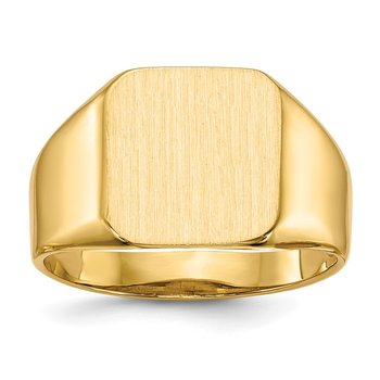 14k 13.0x12.5mm Open Back Men's Signet Ring