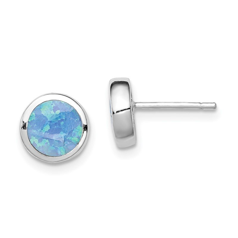 Quality Gold Sterling Silver Rhodium-plated Synthetic Opal Polished Post Earrings