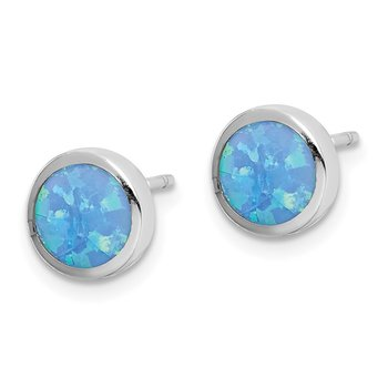 Sterling Silver Rhodium-plated Synthetic Opal Polished Post Earrings