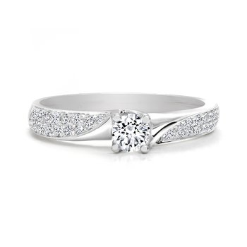 Twist style Engagement Ring with Double Row Pave Diamonds