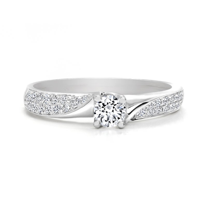 Canadian Rocks Twist style Engagement Ring with Double Row Pave Diamonds