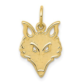 10k Solid Flat Back Small Fox Head Charm