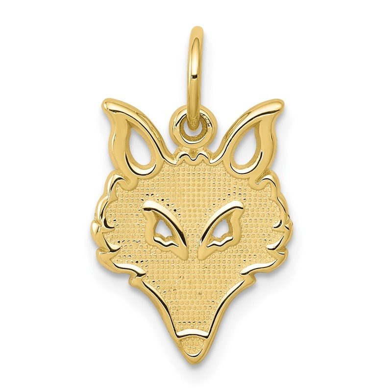 Quality Gold 10k Solid Flat Back Small Fox Head Charm