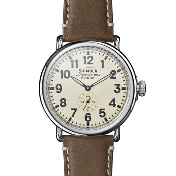 The Runwell 47mm Brown Leather Strap Cream Dial Mens Watch