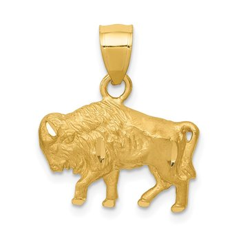 14K Diamond-cut Buffalo Pendant