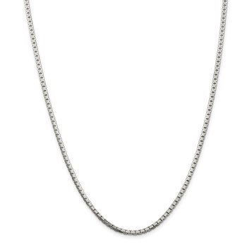 Sterling Silver 2.5mm 8 Sided Diamond-cut Box Chain