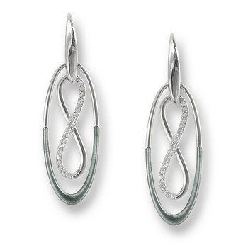 Sterling Silver Infinity Wire Earrings-Gray. White Sapphires