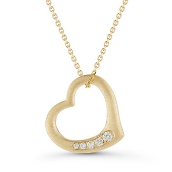 14K Gold Heart Pendant TW Diamonds 0.06C