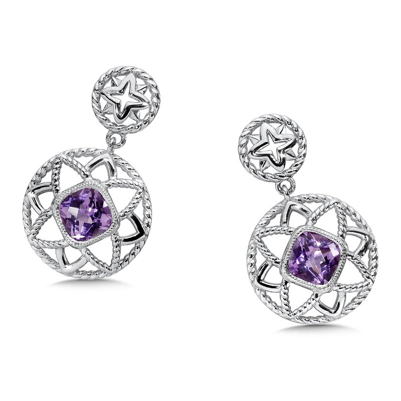 Colore Sg Sterling Silver Amethyst Earrings