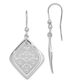 Sterling Silver Rhodium-plated Brushed/Polished Shepherd Hook Earrings