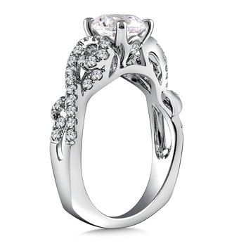Diamond Engagement Ring Mounting in 14K White Gold with Platinum Head (.39 ct. tw.)