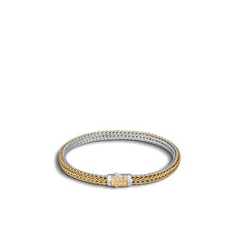 Classic Chain 5MM Reversible Bracelet, Silver, 18K Gold