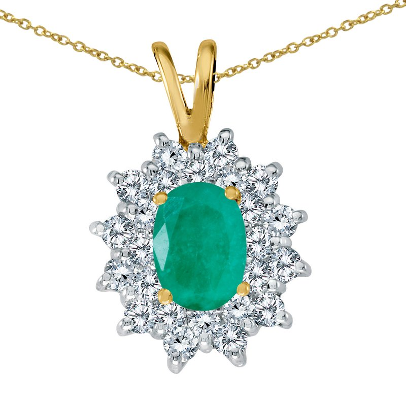Color Merchants 14k Yellow Gold Emerald Oval Pendant with Diamonds