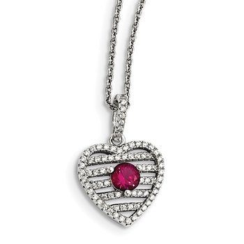 Sterling Silver Synthetic Ruby & CZ Brilliant Embers Heart Necklace