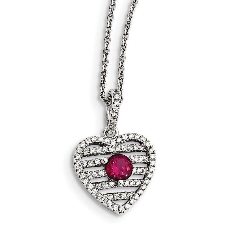 Quality Gold Sterling Silver Synthetic Ruby & CZ Brilliant Embers Heart Necklace