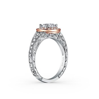 Two Tone Halo Diamond Engraved Engagement Ring