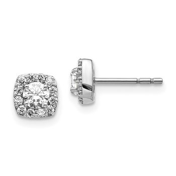 14k White Gold Square Cluster Diamond Earrings