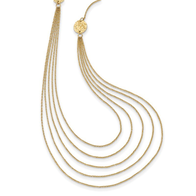 Quality Gold 14k Five Strand Necklace