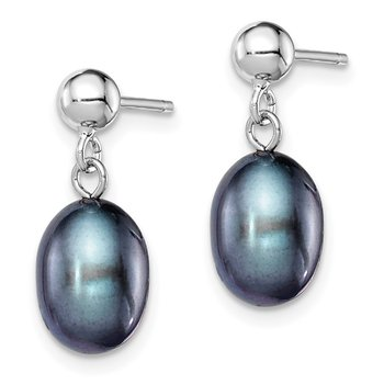 Sterling Silver Rhodium-plated 7-8mm Black FWC Pearl Earrings