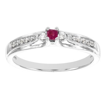 10k White Gold Princess-cut Ruby Center and 1/10ct TDW Diamond Promise Ring