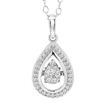 14K Diamond Rhythm Of Love Pendant 1/4 ctw