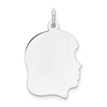 14k White Plain Medium.011 Depth Facing Right Engravable Girl Charm