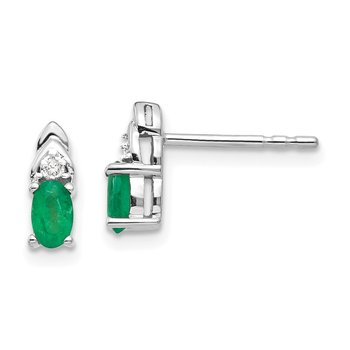 14k White Gold Emerald and Diamond Post Earrings
