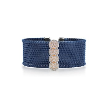 Limited Edition 40th Anniversary Cuff with Blueberry Cable & Diamonds set in 18kt Rose Gold