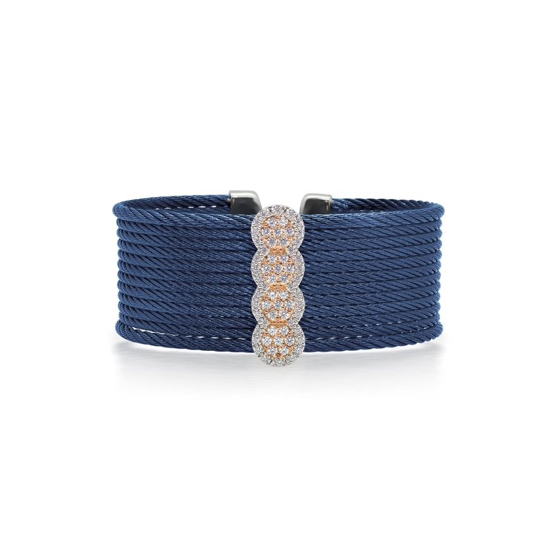 ALOR Limited Edition 40th Anniversary Cuff with Blueberry Cable & Diamonds set in 18kt Rose Gold