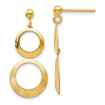 Leslie's 14K Polished and Scratch Finish Circle Post Dangle Earrings