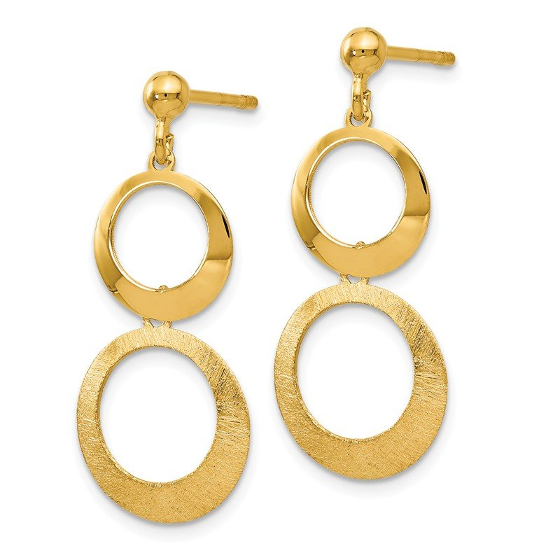 Leslie's Leslie's 14K Polished and Scratch Finish Circle Post Dangle Earrings