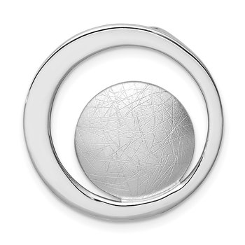 Sterling Silver Rhodium-plated Polished and Brushed Circle Chain Slide