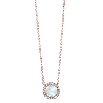 Diamond & Mother of Pearl Halo Pendant Necklace in 14k Yellow Gold (1/10ctw)