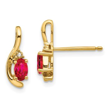 14k Ruby and Diamond Post Earrings