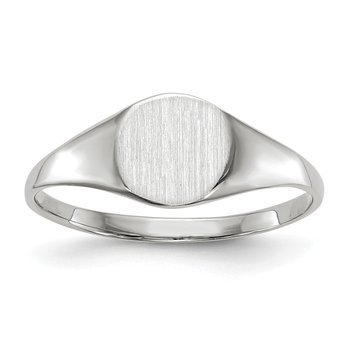 14k White Gold 6.5x7.5mm Closed Back Signet Ring