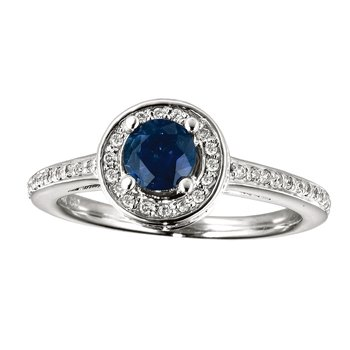 14k White Gold Sapphire and Diamond Double Circle Ring